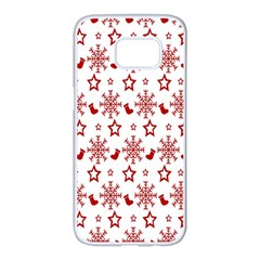 Christmas Pattern  Samsung Galaxy S7 Edge White Seamless Case by Onesevenart