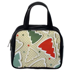 Christmas Tree Stars Pattern Classic Handbags (One Side) by Onesevenart