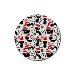 Cute Cat Christmas Seamless Pattern Vector  Rubber Round Coaster (4 Pack)  by Onesevenart
