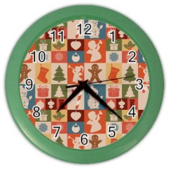 Xmas  Cute Christmas Seamless Pattern Color Wall Clocks by Onesevenart