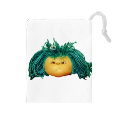 Angry Girl Doll Drawstring Pouches (large)  by dflcprints