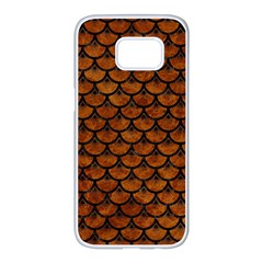Scales3 Black Marble & Brown Marble (r) Samsung Galaxy S7 Edge White Seamless Case