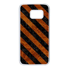 Stripes3 Black Marble & Brown Marble (r) Samsung Galaxy S7 White Seamless Case by trendistuff