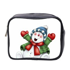 Snowman With Scarf Mini Toiletries Bag 2 Side by Onesevenart