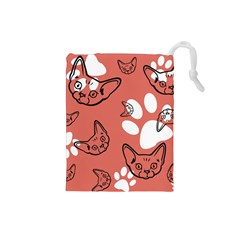 Face Cat Pink Cute Drawstring Pouches (small)  by AnjaniArt