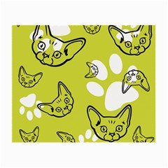 Face Cat Green Small Glasses Cloth by AnjaniArt
