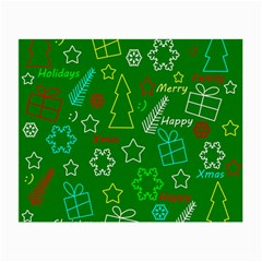Green Xmas Pattern Small Glasses Cloth (2 Side) by Valentinaart