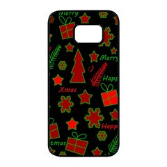 Red And Green Xmas Pattern Samsung Galaxy S7 Edge Black Seamless Case by Valentinaart