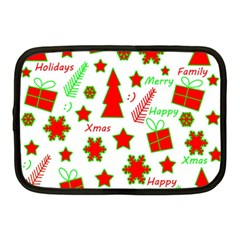 Red And Green Christmas Pattern Netbook Case (medium)  by Valentinaart