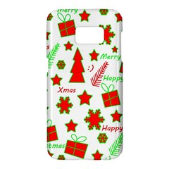Red And Green Christmas Pattern Samsung Galaxy S7 Hardshell Case  by Valentinaart