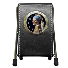 Girl With A Pearl Earring Pen Holder Desk Clocks by ArtMuseum