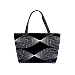 Wavy Lines Black White Seamless Repeat Shoulder Handbags by CrypticFragmentsColors