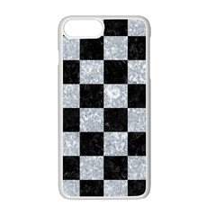 Square1 Black Marble & Gray Marble Apple Iphone 7 Plus White Seamless Case by trendistuff