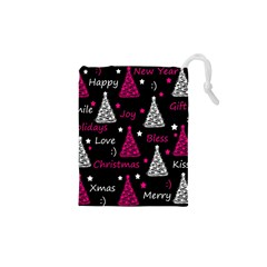 New Year pattern - magenta Drawstring Pouches (XS)  by Valentinaart
