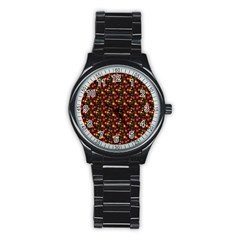 Exotic Colorful Flower Pattern  Stainless Steel Round Watch by Brittlevirginclothing