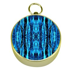 Bright Blue Turquoise  Black Pattern Gold Compasses by Costasonlineshop