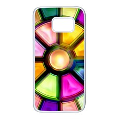 Glass Colorful Stained Glass Samsung Galaxy S7 White Seamless Case by Onesevenart