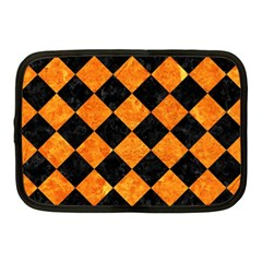 Square2 Black Marble & Orange Marble Netbook Case (medium) by trendistuff