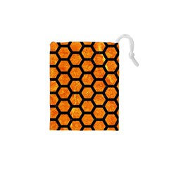 Hexagon2 Black Marble & Orange Marble (r) Drawstring Pouch (xs) by trendistuff