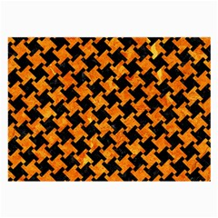 Houndstooth2 Black Marble & Orange Marble Large Glasses Cloth (2 Sides) by trendistuff