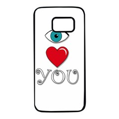 I Love You Samsung Galaxy S7 Black Seamless Case by Valentinaart