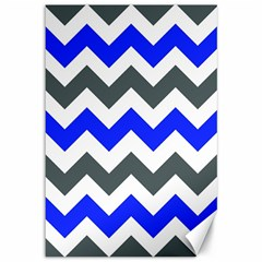 Grey And Blue Chevron Canvas 12  X 18   by AnjaniArt