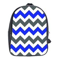 Grey And Blue Chevron School Bags (xl)  by AnjaniArt
