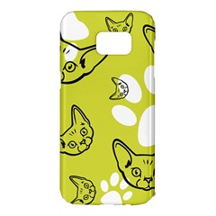 Face Cat Green Samsung Galaxy S7 Edge Hardshell Case by AnjaniArt