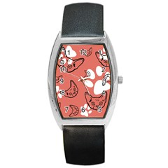 Face Cat Pink Cute Barrel Style Metal Watch by AnjaniArt