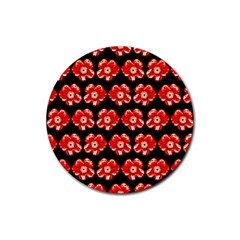 Red  Flower Pattern On Brown Rubber Round Coaster (4 Pack)  by Costasonlineshop
