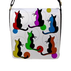 Colorful Abstract Cats Flap Messenger Bag (l)  by Valentinaart