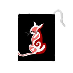 Red abstract cat Drawstring Pouches (Medium)  by Valentinaart