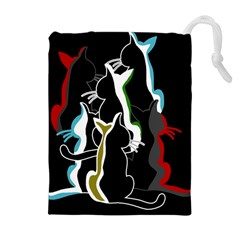 Street Cats Drawstring Pouches (extra Large) by Valentinaart