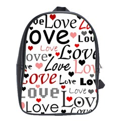 Love Pattern   Red School Bags (xl)  by Valentinaart