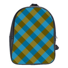 Plaid Line Brown Blue Box School Bags (xl)  by AnjaniArt