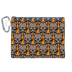 Sitcat Orange Brown Canvas Cosmetic Bag (xl) by AnjaniArt