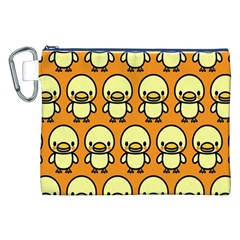 Small Duck Yellow Canvas Cosmetic Bag (xxl) by AnjaniArt