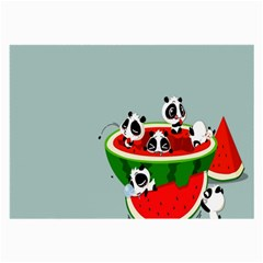 Panda Watermelon Large Glasses Cloth (2 Side) by AnjaniArt