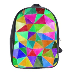 Triangles, Colorful Watercolor Art  Painting School Bags(large)  by picsaspassion