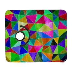 Triangles, Colorful Watercolor Art  Painting Galaxy S3 (flip/folio) by picsaspassion