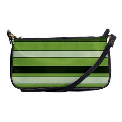Greenery Stripes Pattern Horizontal Stripe Shades Of Spring Green Shoulder Clutch Bags by yoursparklingshop