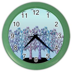 Blue magical hill Color Wall Clocks by Valentinaart