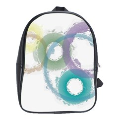 Rainbow Color Circles, Paintbrush Aquarel School Bags (xl)  by picsaspassion