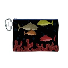 Corals Canvas Cosmetic Bag (M) by Valentinaart