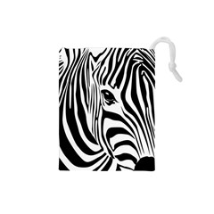Animal Cute Pattern Art Zebra Drawstring Pouches (small)