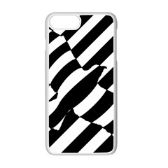 Flaying Bird Black White Apple Iphone 7 Plus White Seamless Case by AnjaniArt