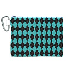Tumblr Static Argyle Pattern Blue Black Canvas Cosmetic Bag (xl) by AnjaniArt