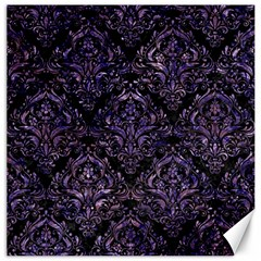 Damask1 Black Marble & Purple Marble Canvas 16  X 16  by trendistuff