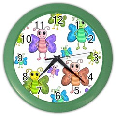 Colorful, cartoon style butterflies Color Wall Clocks by Valentinaart