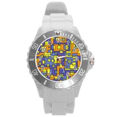 Square Background Background Texture Round Plastic Sport Watch (l)
